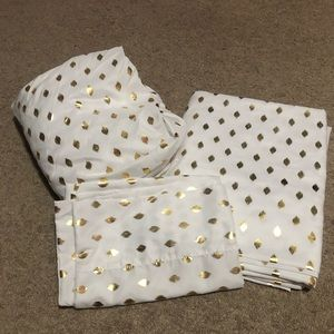 White and gold polka dot twin XL sheets